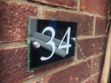 Segnale LUMINOSO Moderno House Placca in vetro acrilico nero lucido numero PORTA