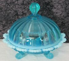 Antique Northwood Klondyke / Jackson Blue Opalescent Glass Footed Butter Dish