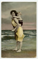 c 1910 Child Children CUTE GIRL w/ MOTHER Daughter Seaside photo postcard