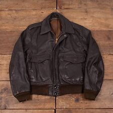 "Mens Vintage Leather Bomber Flight Jacket Talon Zip Brown 40"" M R4059"