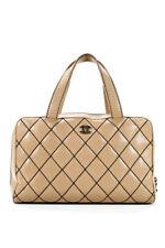 Chanel Mujer Cuero Acolchado salvaje Puntada Bolso Bolso de mano beige negro