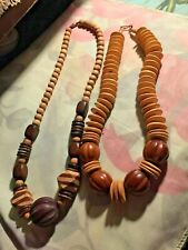Women vintage 2 Wood Necklace