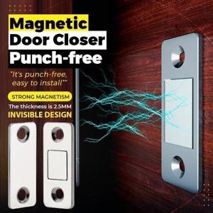 4PCS Punch-Free Magnetic Door Closer Lock Cabinet Catch Latch Cupboard Thin Lock