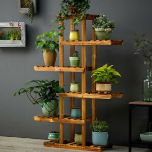 6-Tier Flower Rack Wood Plant Stand 12 Pots Bonsai Display Shelf Indoor Outdoor