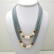 Adami & Martucci Silver Mesh Long Necklace With Gold Beads and Freshwater Pearls