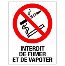 Autocollant Adhésif Sticker Interdit de Fumer et de Vapoter Vitrine Commerce