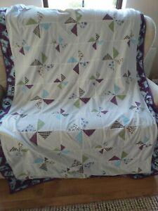 Gorjuss white, purple and green handmade patchwork quilt with green fleece...