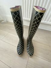 BLACK CREAM WELLIE BOOTS JUICY COUTURE UK 6 US 8 TOWIE WINTER XMAS FESTIVAL
