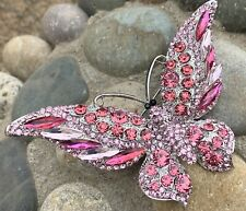 """New Listing4"""" Large Crystal Rhinestone Butterfly Insect Bug Pin Brooch Vintage Pink Color"""