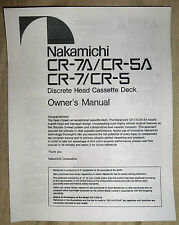 Nakamichi CR-7A/CR-5A/CR-7/CR-5 Discrete Head Cassette Deck Owners Manual (Copy)