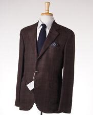 NWT $4295 BRUNELLO CUCINELLI Windowpane Check Linen-Wool-Silk Suit 42 R (Eu 52)