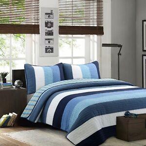 Preston Navy Striped 100%Cotton Quilt Set, Bedspread, Coverlet