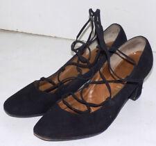 Vintage Black Suede Lace Tie Shoes Mr. Seymour 7 1/2 B High Heel