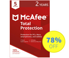 McAfee Total Protection 2018 Antivirus - 5 Devices, 2 Years (Subscription)