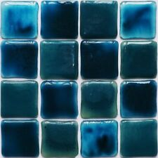 TURQUOISE WATER Fused Glass Mosaic Tiles Sheets Borders Hand-Painted