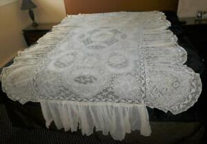 SUPERB ANTIQUE FRENCH NORMANDY MIXED LACE COVERLET BEDSPREAD # 2