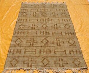 Handmade Jute Kilim Dhurrie Hand-Woven Kelim 5x8 Turkish Oriental Area Rug