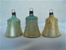 3 Vintage Fragile Glass Satin Bells w Hand Painted Dots & 2 w Clappers