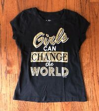 Girls Justice Size 8 Girls Can Change The World Short Sleeve Shirt