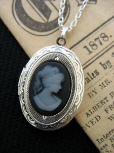 Oval Victorian Silver Cameo Lady Locket Necklace Steampunk GothicGrey Photo