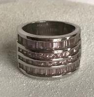 Park Lane Pink Sparkle Diamante Ring Size 5 6 Baguette Cz Lined Thick SilverTone