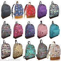 A4 Canvas Backpack Ladies Girls Bag Rucksack Fashion Retro School College Uni