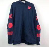Nike Air Jordan Tinker Story Pullover Hoodie Navy Blue Red BQ0298-451 Men's XXL