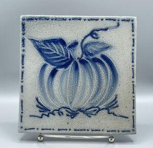 Vintage Eldreth Pottery Salt Glazed Tile Blue Signed 1997 Fall Pumpkin & Leaves
