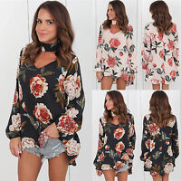 Women Ladies Choker V Neck Floral T-Shirt Long Sleeve Tops Shirts Blouse Casual