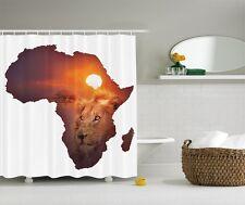 Wild Jungle Lion Graphic Shower Curtain Safari Nature African Map Bath Decor