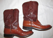 LUCCHESE cognac brown ostrich full quill mid calf western cowboy boots 8 D