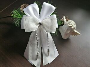 10 Weihnachtsschleifen,Christbaumschleifen weiß/silber, Deko Weihnachten