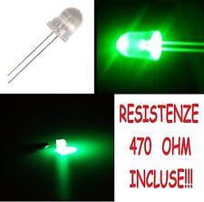 25 diodi led 10 mm verde alta luminosità con 25 RESISTENZE 470 OHM INCLUSE