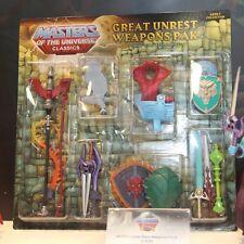 Motuc Great Unrest Weapons Pack  Skeletor  Heman  Masters Universe MOTUC