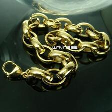 Fashion Gold Tone 316L Stainless Steel Link Chain Men's Bracelet 21cm B169