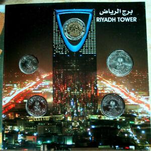"Set Saudi coins riyal1999 &1/2 2010 &1/4 2009 & 2 piasteres 2002&1piastere 1988"""