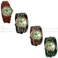 Men's Womens Retro Leather Band Quartz Wrist Watch Twisted Bracelet Bangle Cuff