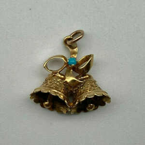 Vintage 14ct Gold Turquoise Wedding Bells Charm.  Goldmine Jewellers.