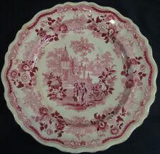 "William Adams Indian Warriors Red Transferware 10 1/2"" Plate Circa 1830s - 1840s"