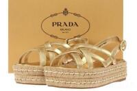 NEW PRADA LUXURY GOLD LEATHER ESPADRILLES SANDALS PLATFORM SHOES 37.5/US 7.5