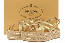 NEW PRADA LUXURY GOLD LEATHER ESPADRILLES SANDALS PLATFORM SHOES 37/US 7