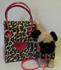 Pucci Pups Dog w/Carrying - Leopard Print w/Metallic Pink Hearts & Handles