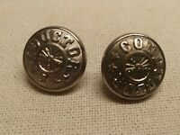 TWO VINTAGE METAL/BRASS RAILROAD BUTTONS- CONDUCTOR ~NH CAR REGIST CO