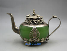 Collection China old Tibetan silver Inlay jade hand-carved Dragon monkey Teapots