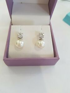 Sterling Silver 925 Faux Pearl & Cubic Zirconia Stud Earrings