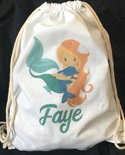 Personalised Childrens Ginger Mermaid with Dolphin Gym/ PE/Dance Bag 100% cotton