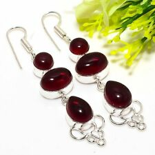 """New listing Mozambique Red Garnet Handmade Ethnic Style Jewelry Earring 2.96"""" AD1509"""