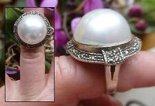 Belle grande BAGUE en ARGENT 925  avec perle et marcassites  t 52 poinçonné