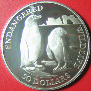 1991 COOK ISLANDS $50 SILVER PROOF JACKASS PENGUINS ICEBERG ENDANGERED WILDLIFE