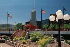 Downtown Elkhart, Indiana, Civic Plaza, American Flags, Street Light -- Postcard